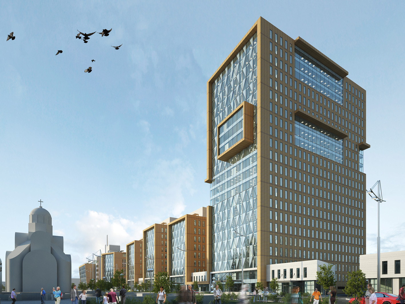 The business complex, with a hotel and a bank on Georgiy Kirpа str. (the opposite a southernrailway station), Kyiv